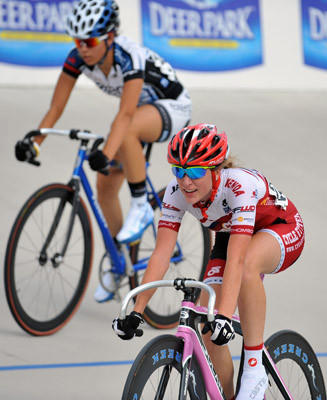 Nadia Latzgo, of Fogelsville, Pa. competes during Opening day of USA Cycling Juniors Track National Championships at Valley Preferred Cycling Center in Trexlertown on Wednesday.