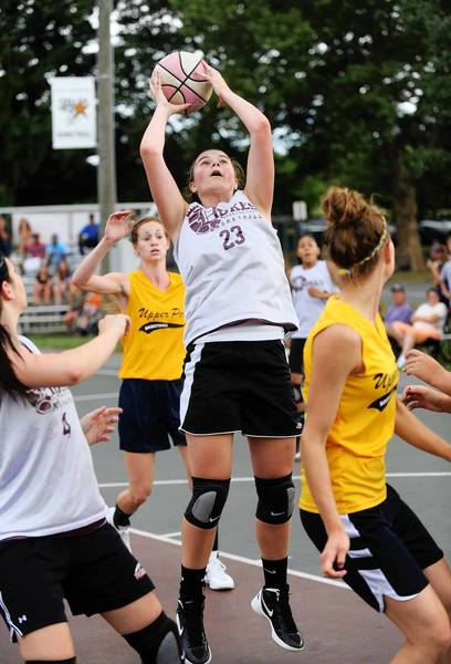 Bangor's Chandler Zungolo hauls in a rebound at the Stellar girls tournament at Cedar Beach Park in Allentown Wednesday night.