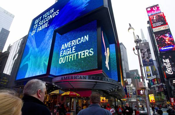 The massive electronic sign on the American Eagle Outfitters in New York's Times Square would be out of place on North Michigan Avenue.