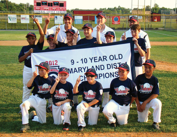 The Federal Little League 9-10 All-Stars open play in the Maryland State Tournament in Waldorf at 7 p.m. Saturday. Federal went 5-0 in the District 1 tournament, winning the district title on June 30 with a 15-0 win over West End. Front row, from left to right: Braden Kolb, Kyle Corley, Tyler Remsburg, Brayden Quirple and Michael Keats. Middle row: Jaylend Williams, Todd Stocks, Garrett Kercheval, Ian Selby, Dylan Watson and Ben Caldwell. Back row: Manager Tim Kolb, coach Brian Selby and coach Tim Walter.