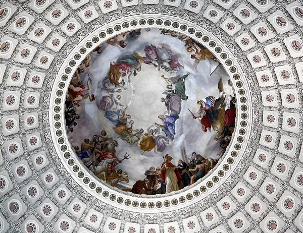 "Constantino Brumidi's ""The Apotheosis of George Washington"" adorns the Capitol Rotunda."