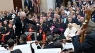 Pope Benedict XVI attended a classical concert Wednesday that doubled as a political event in which the leader of the Catholic Church called for peace in the Middle East. Conductor Daniel Barenboim led members of the West-Eastern Divan Orchestra, a group comprised of Israeli and Arab musicians.