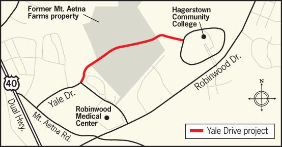 Yale Drive would be extended from its current terminus to Scholar Drive on the campus of Hagerstown Community College to provide access to the 173-acre Mt. Aetna Technology Park.