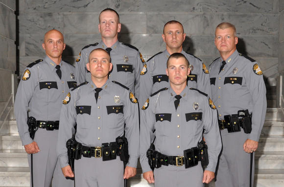 Six new troopers have joined the KSP, Richmond Post, among them, front row, from left, are Trooper Bobby Edwards and Trooper Aaron Hall; and back row, left to right, Trooper Jason Carpenter, Trooper Brandon Scalf, Trooper Keith Parke and Trooper Jeff Stith.
