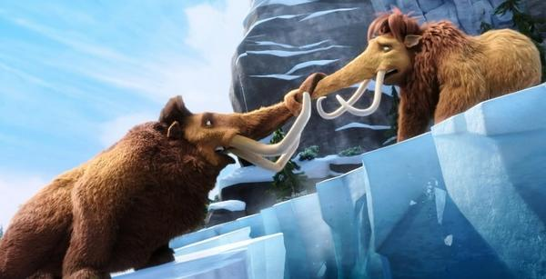 "<b>PG; 1:27 running time</b><Br><Br> ""Ice Age 4"" separates the woolly mammoth Manny (Ray Romano) from his family, for a while, as the land masses creak and groan, though not as loudly as the script's jokes, especially the ones ending in the word ""booger"" or ""puke."" The saber-toothed tiger Diego (Denis Leary) finds a mate, voiced by Jennifer Lopez. John Leguizamo's sloth, Sid, becomes caretaker of his abandoned grandmother. Peter Dinklage voices a nasty pirate orangutan. The tone of the banter in ""Ice Age 4"" is wearying sarcasm punctuated by frequent death-threats and pummelings and 3-D action sequences that reduce the entire experience to a sledding run. -- Michael Phillips<br><br>Read the full <a href=www.chicagotribune.com/entertainment/movies/sc-mov-0710-ice-age-continental-drift-20120712,0,4601005.column>""Ice Age: Continental Drift"" movie review</a>"