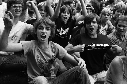 "Music fans at Comiskey Park wait for the ""Disco Demolition"" event between games of a twi-night double-header between the Chicago White Sox and Detroit Tigers."