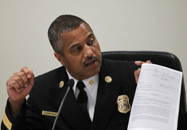 Los Angeles Fire Chief Brian Cummings at a Fire Commission meeting.