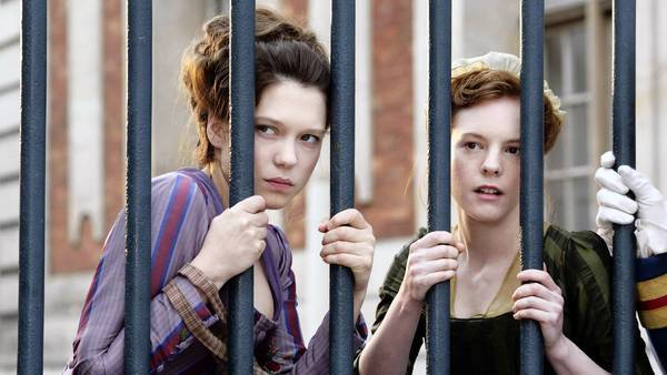 "Lea Seydoux, left, stars as Sidonie Laborde, the queen's reader in ""Farewell, My Queen."""