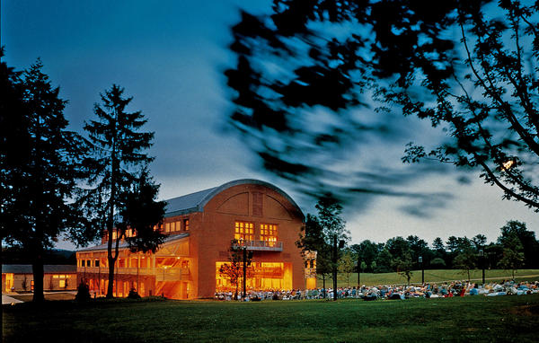 Tanglewood Music Festival celebrates its 75th anniversary this summer. Above, Ozawa Hall, a venue at the festival.
