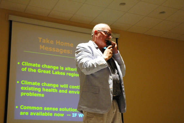 Director of the University of Michigan Biological Station and professor of ecology and evolutionary biology Knute Nadelhoffer spoke about climate change at Tip of the Mitt Watershed Council's 33rd annual membership meeting on Tuesday.