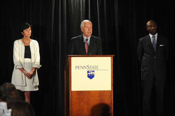 (from left) Chairman of the Board of Trustees Karen B. Peetz, Penn State President Rodney Erickson, and Chair of the Special Investigation Task Force for the Board of Trustees Kenneth C. Frazier speak at a press conference in the Hilton Scranton & Conference Center Thursday afternoon. They give their reaction to Judge Louis Freeh's report on the Penn State's handling of the Jerry Sandusky sex scandal which was released at 9 a.m.