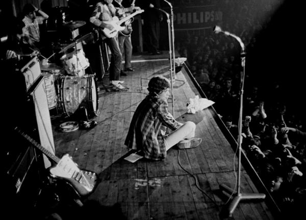 The Rolling Stones: Mick Jagger performs in Copenhagen in 1965.