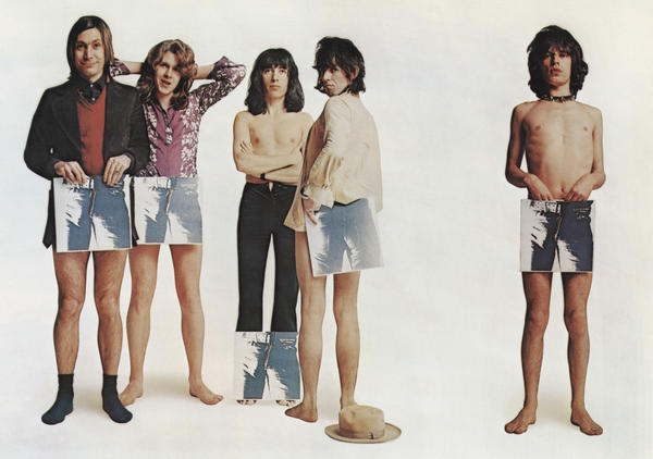 "The Rolling Stones strategically hold copies of their album ""Sticky Fingers"" to promote its release on April 23, 1971. The album cover design was conceived by American pop artist Andy Warhol. Charlie Watts, left, Mick Taylor (who had replaced Brian Jones), Bill Wyman, Keith Richards and Mick Jagger."