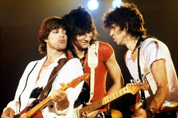 The Rolling Stones: Mick Jagger, left, Ron Wood and Keith Richards play a benefit concert at Oshawa Civic Auditorium in April 1979.
