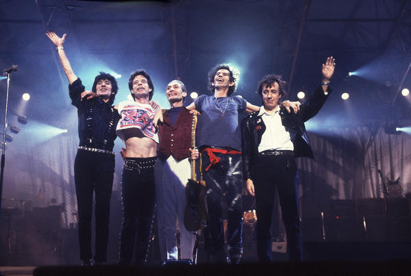 The Rolling Stones: The Rolling Stones after a performance during their Steel Wheels tour in late 1989.