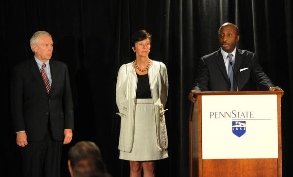 (from left) Penn State President Rodney Erickson, Chairman of the Board of Trustees Karen B. Peetz, and Chair of the Special Investigation Task Force for the Board of Trustees Kenneth C. Frazier speak at a press conference in the Hilton Scranton & Conference Center Thursday afternoon. They give their reaction to Judge Louis Freeh's report on the Penn State's handling of the Jerry Sandusky sex scandal which was released at 9 a.m.