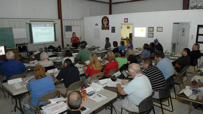 Thirty-three representatives from emergency management, emergency medical services, hospitals, fire departments and other volunteers attended training sessions at the Region 13 building at the Somerset County Airport Thursday.