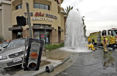 Photo gallery fire hydrant sheared off by vehicle for Department of motor vehicles glendale ca