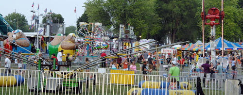 View from Laubach Avenue on Thursday of the Northampton Community Days Fair being held at the Northampton Municipal Park at Laubach Avenue and Smith Lane. The Fair, which began on Wednesday ends with a full-scale fireworks show on Saturday. Hours are 6-10 p.m. on Friday and 6-11 p.m. Saturday. The fair, which features games, rides, food and musical entertainment, benefits the Exchange Club of Northampton.