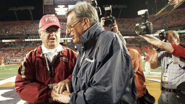 Bobby Bowden and Joe Paterno before the 2006 Orange Bowl.(Andrew Innerarity/Sun Sentinel photo)