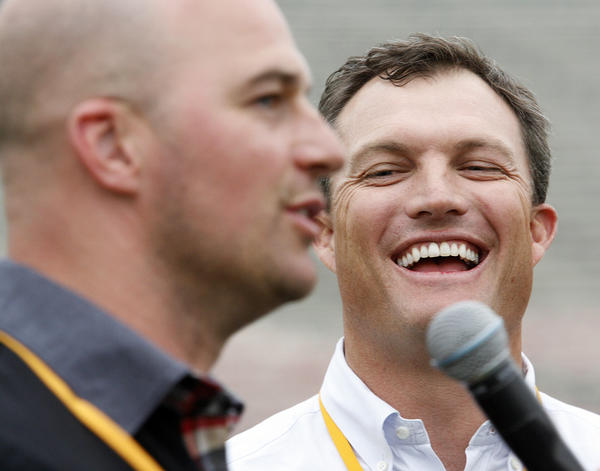 Matt Hasselbeck, of the Tennessee Titans, kids John Lynch, of the Tampa Bay Buccaneers, during an interview at the Rose Bowl in Pasadena for the NFL All-Access Event.
