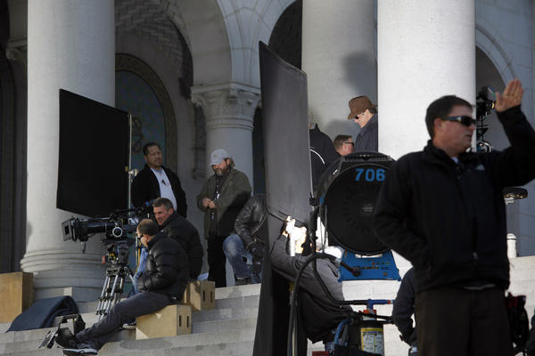 "A film crew prepares for a December shoot at Los Angeles City Hall for ""Gangster Squad,"" a feature film starring Sean Penn."
