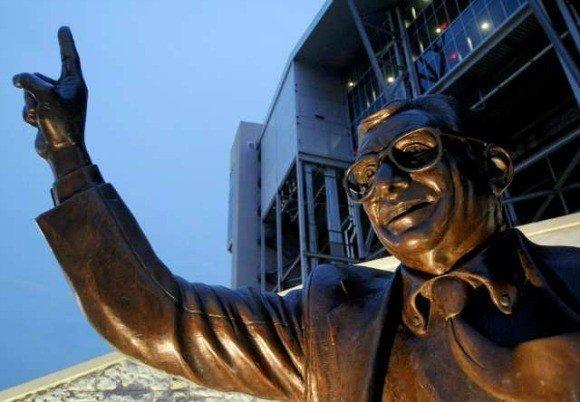 This statue of Joe Paterno stands outside Penn State's football stadium.
