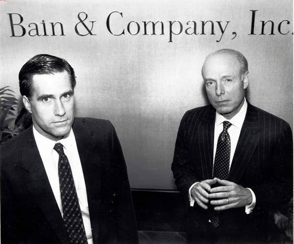 Mitt Romney, left, and William Bain Jr. in 1990. Romney's campaign is defending the candidate from attacks on his tenure at Bain Capital.
