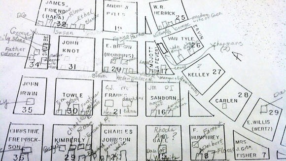 A plot map for Bagley Cemetery is scratched with Margaret Albert's notes on who is buried where. Albert, along with Sue Smethurst, spent a summer recording names and dates for the Otsego County Historical Society. Official records on the cemetery are bare.
