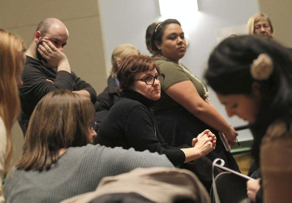 Hallie Gordon, center, the director of Steppenwolf for Young Adults, at a gathering in February for the 2012 Cultural Plan for Chicago.