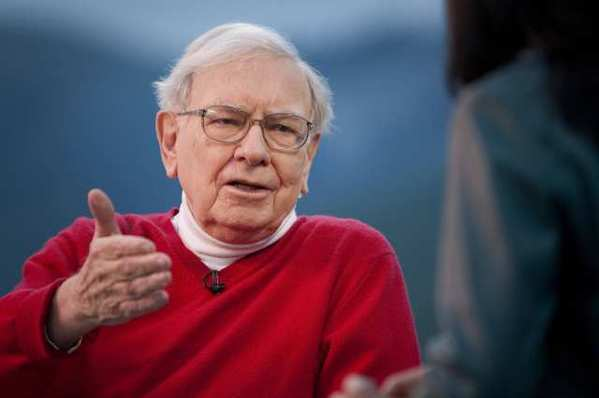 Warren Buffett, chairman of Berkshire Hathaway Inc., speaks during an interview, where he said Wells Fargo & Co.'s dominance of U.S. home lending will pay off as the housing market rebounds.
