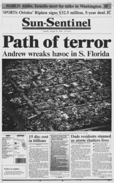 Path of terror Andrew wreaks havoc in S. Florida