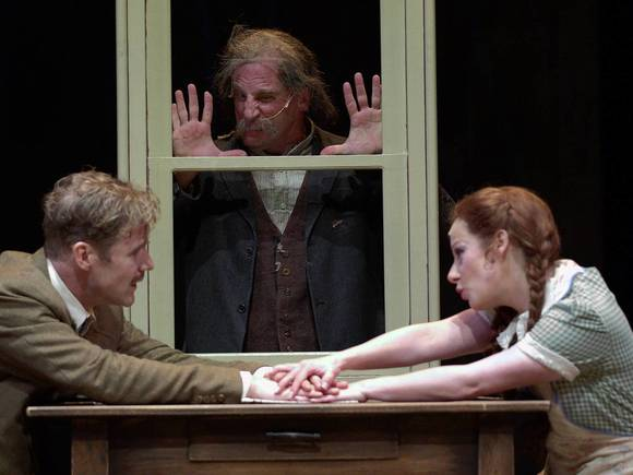 "Peter Simon Hilton, Paul Kalina and Angela Ingersoll in ""The 39 Stapes"" at the Drury Lane Theatre."