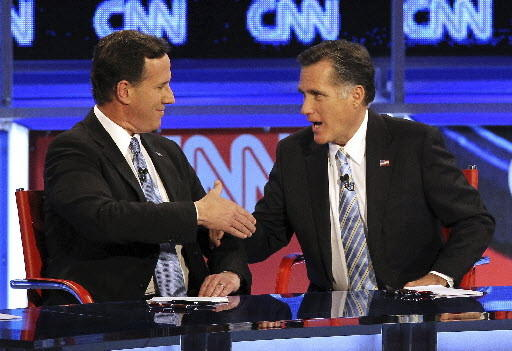 Rick Santorum and Mitt Romney during primary debate