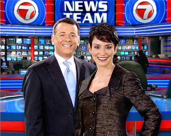 Channel 7 News anchors Craig Stevens and Belkys Nerey on the WSVN set.