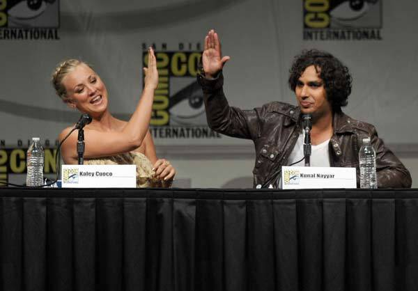 Actors Kaley Cuoco and Kunal Kayyar speak at the 'The Big Bang Theory' panel during Comic-Con International 2012 at San Diego Convention Center on July 13, 2012 in San Diego, Calif.