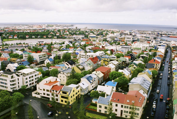 Downtown Reykjavik is best viewed from the church bell tower of Hallgrímskirkja, high atop a hill in the capital city's center.