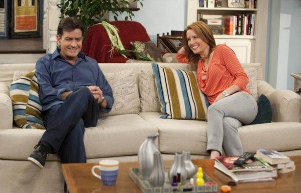 "Charlie Sheen, left, as Charlie Goodson and Shawnee Smith as Jennifer Goodson in ""Anger Management."""