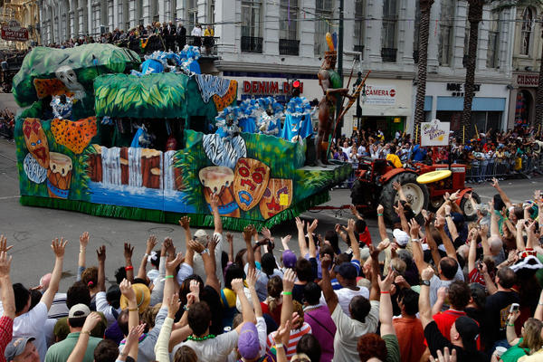 "A float in the Zulu parade passes along Canal Street on <a class=""taxInlineTagLink"" id=""EVFES0000047"" title=""Mardi Gras"" href=""/topic/arts-culture/holidays/mardi-gras-EVFES0000047.topic"">Mardi Gras</a> day in <a class=""taxInlineTagLink"" id=""PLGEO100100101011265"" title=""New Orleans"" href=""/topic/us/louisiana/orleans-parish/new-orleans-PLGEO100100101011265.topic"">New Orleans</a>, La. Mardi Gras day, or Fat Tuesday, is a celebration the day before <a class=""taxInlineTagLink"" id=""EVFES0000049"" title=""Lent"" href=""/topic/religion-belief/christianity/lent-EVFES0000049.topic"">Lent</a> begins on the Christain calender."