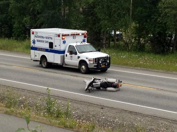 Alaska State Troopers say Chugiak man Michael Butler, 41, suffered severe head injuries in a single-vehicle crash on Knik-Goose Bay Road Friday. Butler wasn't wearing a helmet when his motorcycle locked and went down after he encountered a stopped line of cars on the road, throwing him.