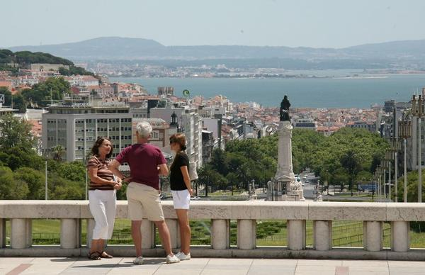A scenic view of the Marques de Pombal in Lisbon, Portugal on July 28, 2009.
