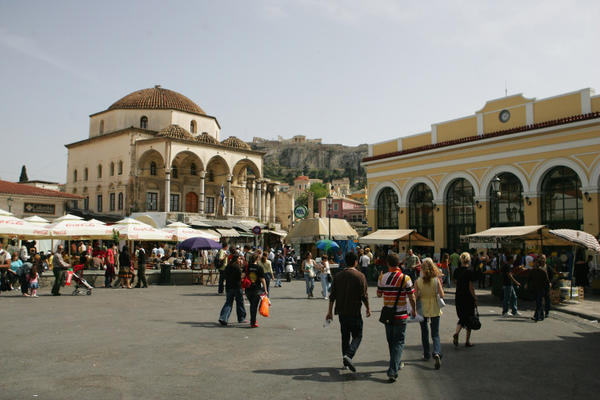 Monastiraki square and metro station on May 5, 2007 in Athens, Greece.
