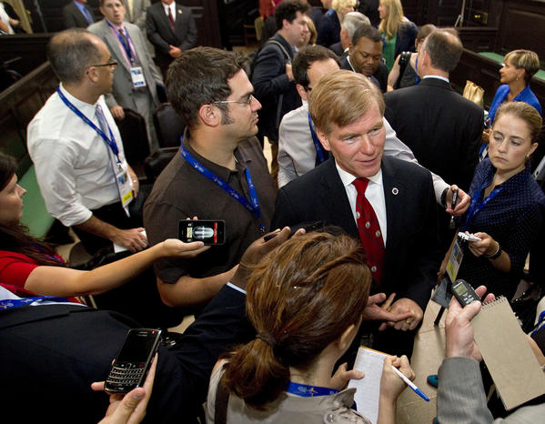 Virginia Governor Bob McDonnell speaks with reporters following the opening press conference of the National Governors Association Annual Meeting at the Old Capitol in Williamsburg on Friday.