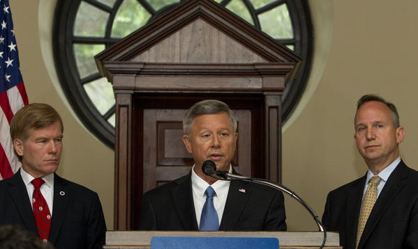 From left) Virginia Governor Bob McDonnell, Nebraska Governor Dave Heineman and Delaware Governor Jack Markell speak at the opening press conference of the National Governors Association Annual Meeting at the Old Capitol in Williamsburg on Friday.
