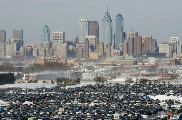 "Parked cars are shown outside of the stadium with the downtown <a class=""taxInlineTagLink"" id=""PLGEO100101023010000"" title=""Philadelphia (Philadelphia, Pennsylvania)"" href=""/topic/us/pennsylvania/philadelphia-county/philadelphia-%28philadelphia-pennsylvania%29-PLGEO100101023010000.topic"">Philadelphia</a> skyline in the background before the start of the <a class=""taxInlineTagLink"" id=""EVSPR00003532"" title=""National Football Conference"" href=""/topic/sports/football/national-football-conference-EVSPR00003532.topic"">NFC</a> Championship game on January 23, 2005 in Philadelphia."