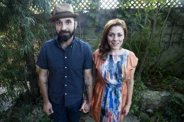 "Lucky Diaz, left, and his wife, Alisha, at their home in Los Angeles. Lucky and Alisha started the Lucky Diaz and the Family Jam Band three years ago. ""It's such a joyous experience,"" Alisha says. ""It gave us the opportunity to travel and meet so many different families,"" she adds."