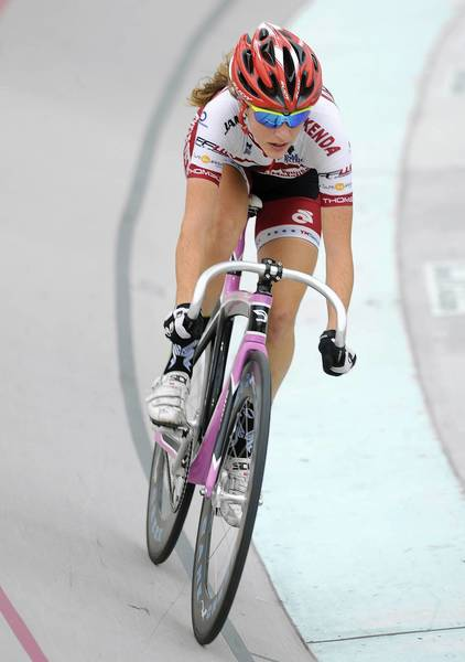 Nadia Latzgo of Fogelsville finishes in second place in the Junior Women 17-18 24km points race during the USA Cycling Juniors Track National Championships at Valley Preferred Cycling Center in Trexlertown Friday.