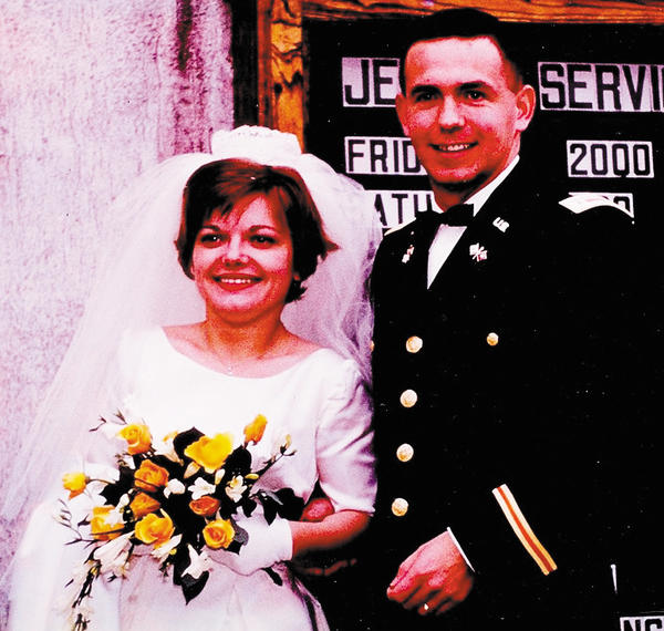 Gloria and Paul Weisz pose for this picture taken on their wedding day in October 1964 in Kaiserslautern, Germany.
