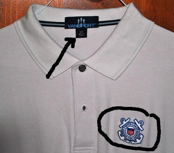 "Coast Guard Academy shirt with ""Made in China"" tag"