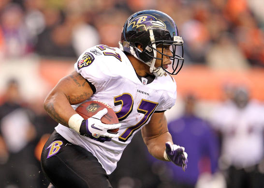 Ravens running back Ray Rice picks up a few yards against the Cincinnati Bengals Jan. 1.
